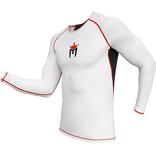 Meister Rush Camiseta Rash Guard de Manga Larga Premium para MMA, BJJ y Buceo - Blanco/Rojo - XL