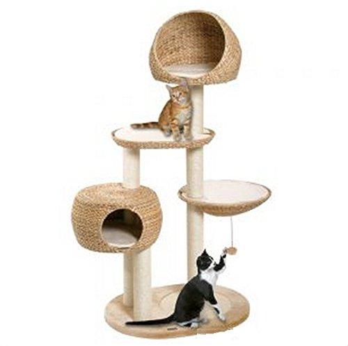 Paradise Spielstation und Kratzbaum für Katzen, langlebige und robuste Kratzflächen, handgewebt aus Bananenblättern, mit Stangen und Beobachtungsplattformen, für kleine und große Katzen