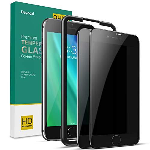 Deyooxi 2 Stück Panzerglas Sichtschutz für iPhone 7 Plus/8 Plus, 3D Full Screen Glas Blickschutzfolie mit Positionierhilfe,Privacy Panzerglasfolie Schutzfolie,Anti-Spy Displayschutz Folie,Schwarz
