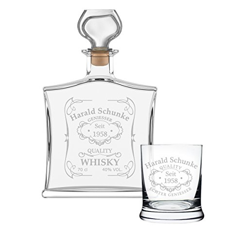 polar-effekt 2-TLG Geschenk-Set mit Whiskeyflasche und Whiskyglas - Edle Glas-Karaffe Inhalt: 700ml - mit Gravur Motiv Quality Whisky