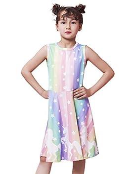Little Girls Unicorn Dress Rainbow Stripe Clothes 3D Graphic Horse Skirts Adorable Star Dance Tunic Unicorn Birthday Shirt Vintage Wiggles LOL Teen Dress Summer Twirly Chidren Shorts for Vacation