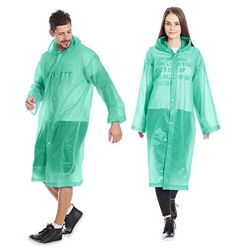 Kurtzy Raincoat for Adults | PVC Reusable Poncho Waterproof Rainwear with Hood (Green - Pack of 2)