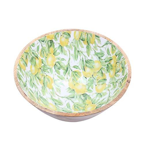 Boogs Müslischale aus Mangoholz |Obstschale mit Print | Holzschale| Dekoschale Klein | 15cm Durchmesser (Zitrone)