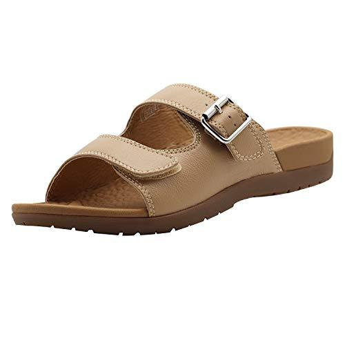 Everhealth Damen Sandalen mit Fußgewölbeunterstützung für Plantarfasziitis, Plattfüße, Fußpflege Schnalle Slip On Sandalen Hausschuhe