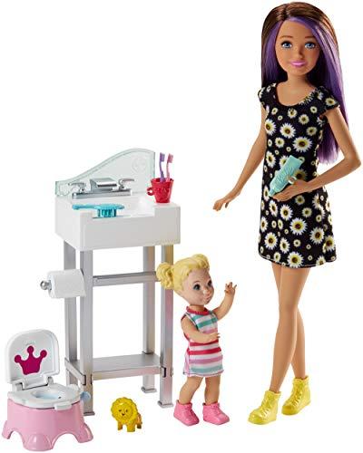 Barbie FJB01 - Skipper Babysitters Inc Puppen und Töpfchen Training Spielset mit Baby Puppe und Zubehör, Mädchen Spielzeug ab 5 Jahren