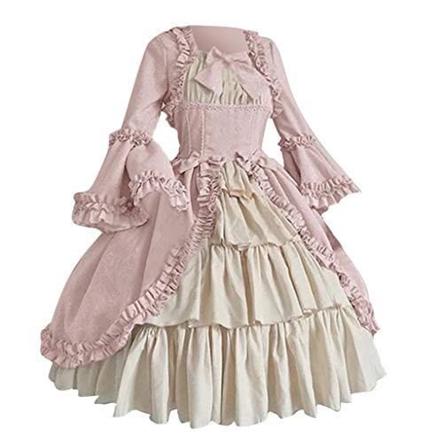 SALUCIA Damen Rokoko Barock Prinzessin Kleid Gewand Trompetenärmel Schleife Knielang Kostüm Vintage Gothic Renaissance Viktorianisches Kleidung Große Größen Gr.34-48
