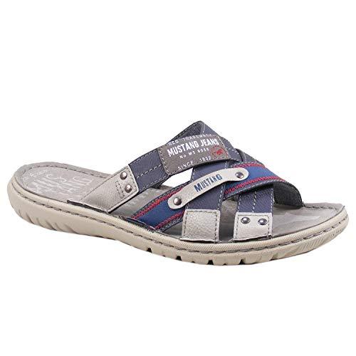MUSTANG 4134-701 Schuhe Herren Clogs Pantoletten, Größe:47 EU, Farbe:Blau