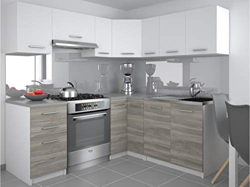 Tarraco Comercial - Mobili da cucina completa, modello Lidia, colore bianco/grigio, 360 cm