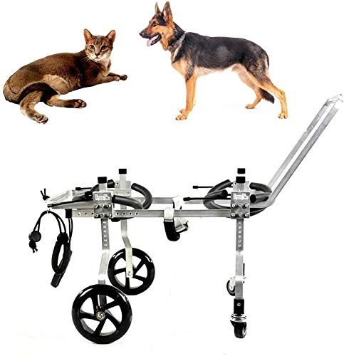 Silla de ruedas ajustable de apoyo completo para mascotas, silla de ruedas para patas traseras, carrito de perro, patas delanteras y traseras, con 4 ruedas, para perros discapacitados