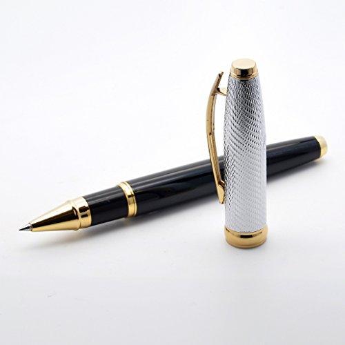 LACHIEVA - Bolígrafo de Metal con Recambio de Schneider alemán, Caja de Regalo (Color Negro y Dorado)
