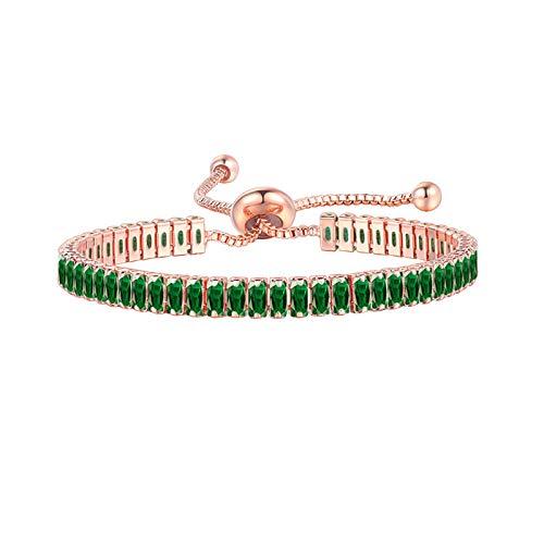 Valentine's Day Adjustable Gemstone Bracelet Crystal Bracelet for Anniversary Birthday Mother's Day Sparkle Diamond Zircon Adjustable Bracelet for Women Girls