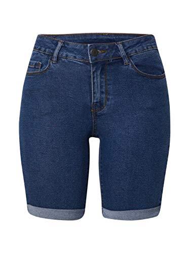 VERO MODA Damen Vmhot Seven Nw DNM Long F Color Jeans-Shorts, Blau (Medium Blue Denim), S