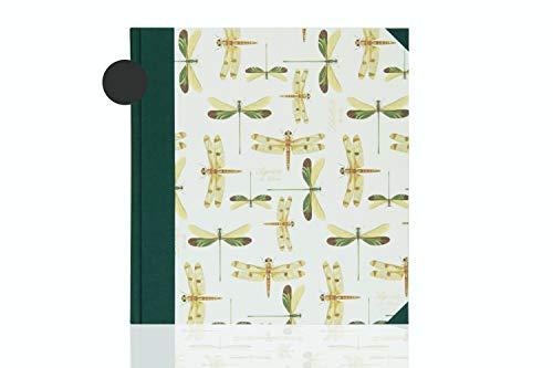 Premium Fotoalbum zum selbst einkleben, handgefertigt, grünes Leinen, Libellen, 30 Schwarze Blätter, schönes Geschenk zum Geburtstag