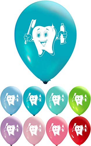 Tooth Balloons - 12 Inch Latex - 2 Sided Print (16 Count) for Birthday Parties or Any Other Event Use - Fill with Air or Helium