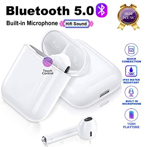Auriculares inalámbricos Bluetooth, Auriculares inalámbricos 3D estéreo HD, emparejamiento automático para Llamadas binaurales, con Estuche de Carga portátil para Android/iPhone/AirPods