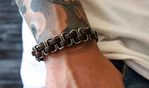 Lederarmband Herren - Armband Männer Leder - Schmuck Geschenk Handmade - Herrenarmband geflochten - Echtleder mit Metallelementen (Dunkelbraun)