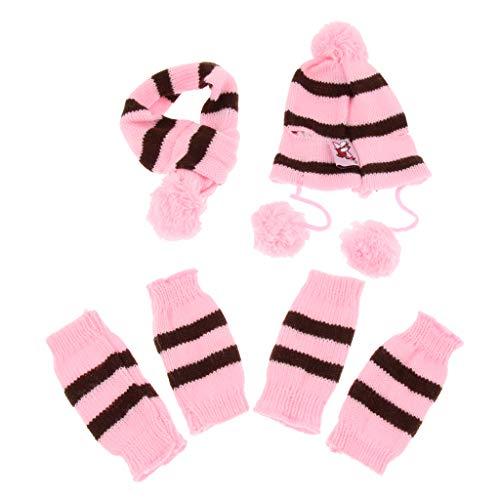B Blesiya Winter warme gestrickte Mütze Schal Socken für Hunde, Farben und Größen auswählbar - Rosa, XS