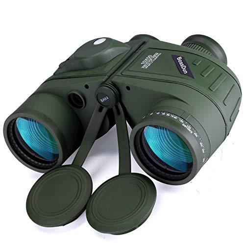 10x50 Marine Fernglas,Fernglas mit Nachtsicht Entfernungsmesser und Kompass, für Wassersport-Enthusiasten und Hobbysegler, inklusive Bereitschaftstasche, Staubschutzkappen und Trageriemen