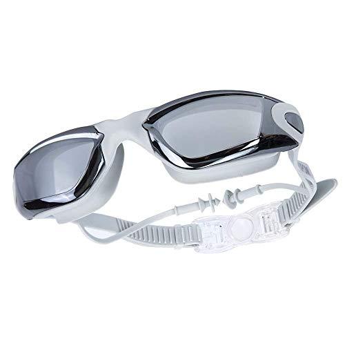 XUXUN Myopia natación Gafas Earplug Profesional Adulto Silicone Swim Gorra Piscina Gafas Anti Niebla Hombres Mujeres Mujeres Ópticas Eyewear Impermeable (Color : Gris)