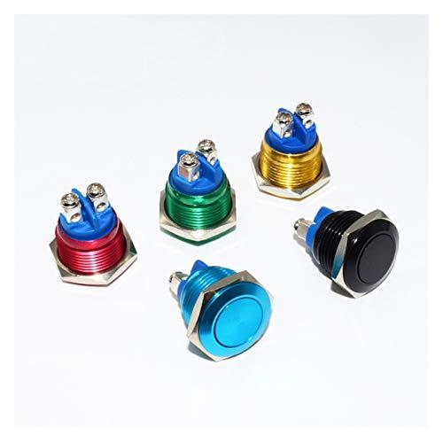 XINGYAO Interruptor Giratorio 16 mm Metal Auto Restablecer botón pulsador 5 Colores Tornillo Contactos Coche Auto Motor PC Power Start DIY (Color : Red, Size : Flat Head)