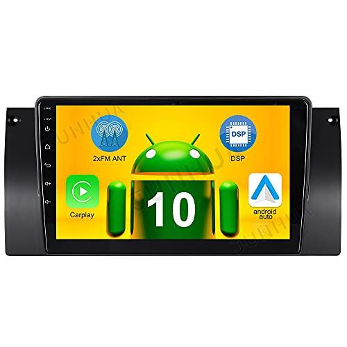 Android 10.0 Carplay+Android Auto 2G+32GB Dual-Tuner Autoradio Bluetooth 5.0 Rohm-DSP GPS für BMW 5er E39 E38 X5 E53 530 740 DAB+ WiFi 4G-LTE USB SD Subwoofer AV-Out