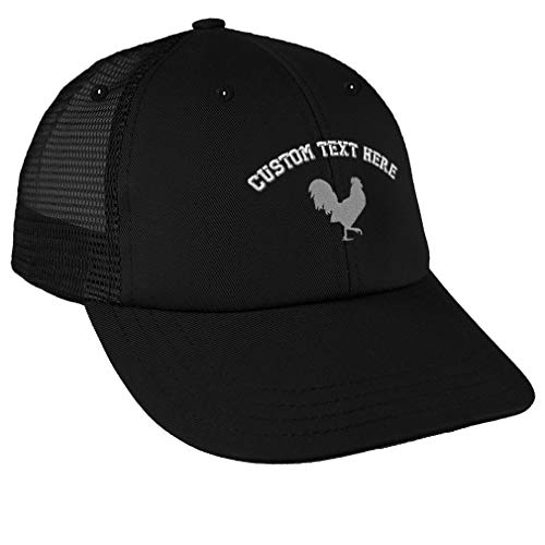 Custom Trucker Hat Baseball Cap Grey Rooster in A Poultry Embroidery Cotton Dad Hats for Men & Women Snapback Black Personalized Text Here