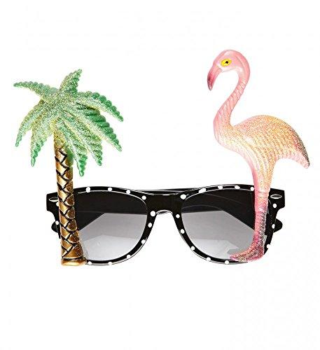 shoperama Gafas de sol tropicales con palmeras y flamencos, gafas hawaianas, accesorio para disfraz, para hombre y mujer