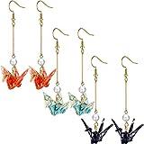 3 Pairs Good Luck Paper Crane Dangle Earrings Paper Crane Tassel Earrings Cute Bird Handmade Drop Earrings Pink Blue Purple Origami Silver Earrings for Women Girls Ladies Jewelry Decoration