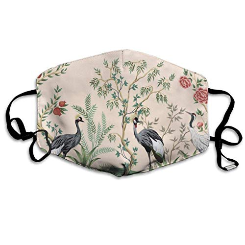 Mundschutz Vintage Crane Bird Floral Tree,Windproof Facial Decorations,Half Face Cover,Adjustable Earloop,Mouth Cover,Dust-Proof Mouth Protector