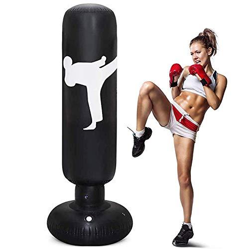 CSPone Saco de Boxeo Hinchable en Casa Niños Adultos 160 cm Gran Tamaño Portátil Plegable para Practicar Karate MMA Bolsa de Boxeo Fitness Taekwondo Aliviar la Energía Acumulada (Noir)