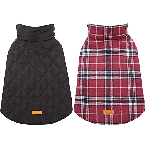 Kuoser Cozy Waterproof Windproof Reversible British Style Plaid Dog Vest Winter Coat Warm Dog Apparel for Cold Weather Dog Jacket for Small Medium Large Dogs with Furry Collar (XS – 3XL),Red M