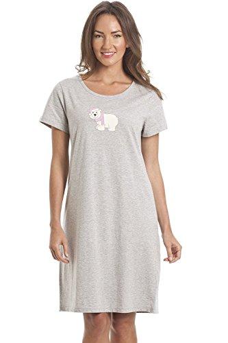 Camille Estampado Suave algodón Suave Camisones de Verano 38/40 Grey