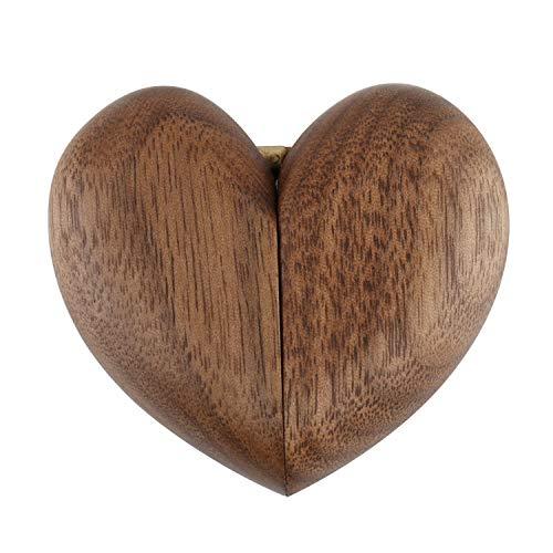 Merhoff & Larkin Funda para anillo en forma de corazón de nogal – Hermosa nogal negro con un soporte interior de terciopelo | perfecta para una propuesta o elegante caja de almacenamiento