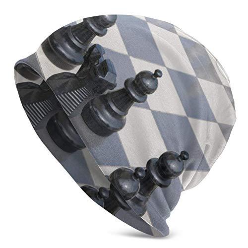 BGDFN Gorro de Punto de ajedrez Internacional Gorros cálidos Gorros de Calavera con puños Suaves elásticos Gorro Diario para Unisex Negro