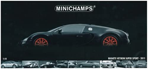 Minichamps 100110842 - Bugatti Veyron Super Sport, Ma ab  1 18, metallic Schwarzmit Orange Felgen