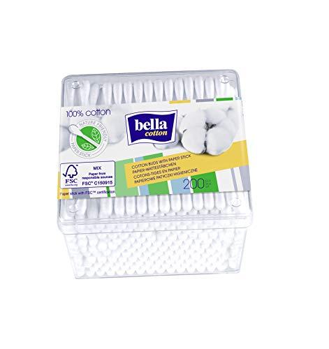 Bella Cotton Wattestäbchen mit Papierschaft in praktischer Box