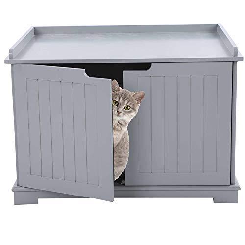 Pissente Caja de Arena de Madera para Gatos Recinto, 75 x 51 x 52 cm(Gris)