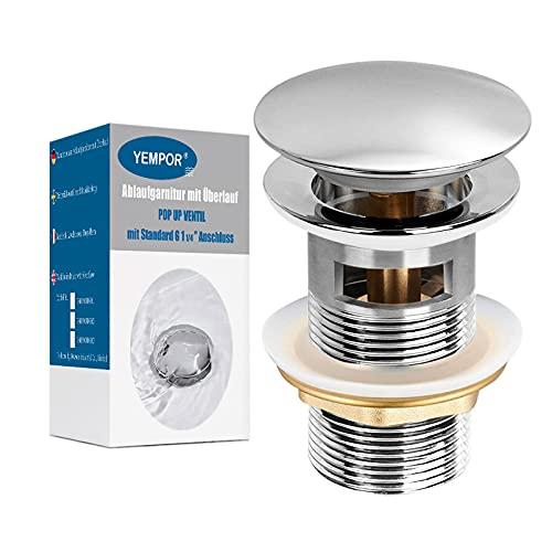 YEMPOR Waschbecken Ablaufgarnitur mit Überlauf, POP UP Ablaufgarnitur POP UP Ventil Universal Ablaufgarnitur