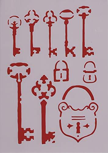 Art Life Schablone zum Malen und Zeichnen A4, 21 x 29 cm, Stencil, wiederverwendbar, Motiv Schlüssel, Schloss