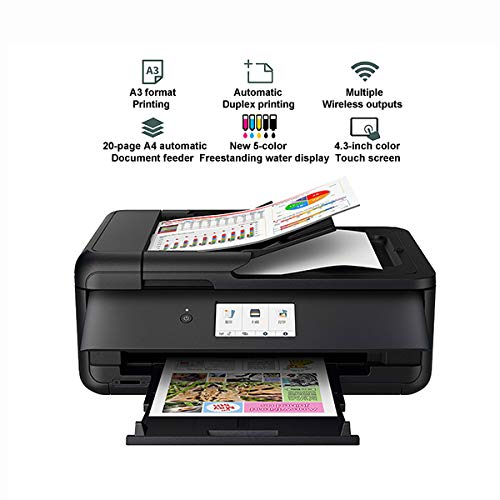 TANCEQI Inkjet-multifunctioneel apparaat (5-kleuren, inkjet-A3-fotoprinter, smart wireless duplex, wifi, 4,3-inch kleurenaanraakscherm, high-speed ​​​ USB-interface), vrijstaand inktreservoir
