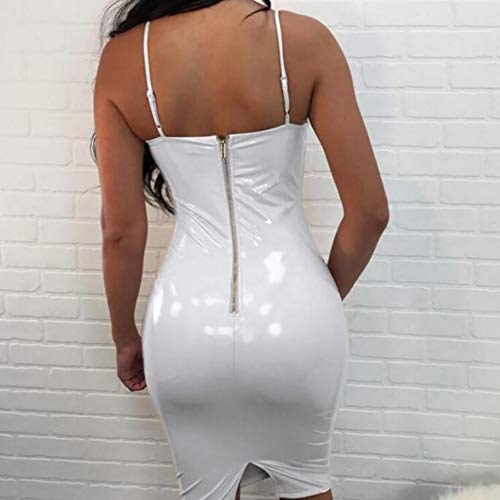 SHANGXIAN Sexy Wetlook Lederkleid Schlank Latex Catsuit Mode-Verband Kleid Trägerlos Frau Bodycon Clubkleid,White,6XL