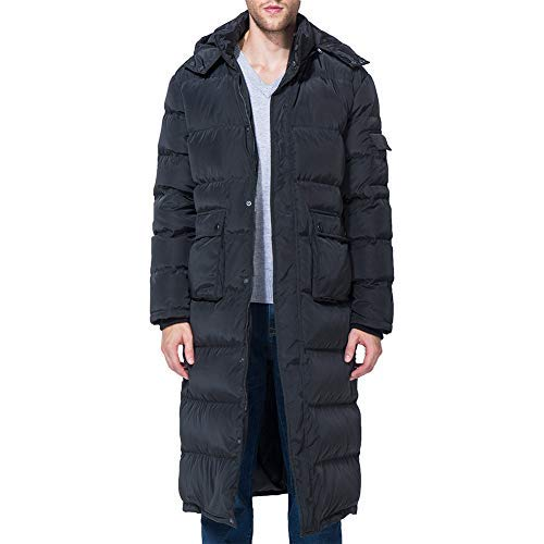 Tapasimme Men's Winter Warm Down Coat Men Packaged Down Puffer Jacket Long Coat with Hooded Compressible (Black, X-Large)