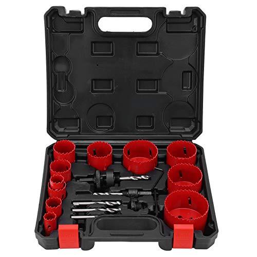 Bi‑Metal Hole Saw Set HSS Red Hole Saw Drill Bit 17Pcs Drilling Tools Sharp for Woodworking