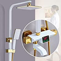 MEIXRJ シャワーセットThemostaticシャワーセット品質真鍮ゴールドデジタルバスルームシャワーシステム降雨シャワーヘッドバスデジタルシャワーセット、C5