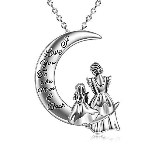 WINNICACA Mutter und Tochter Halskette 925 Sterling Silber Ich liebe dich zum Mond und zurück Anhänger Halskette Geschenke für Mama Frauen