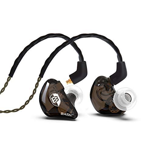 BASN Bsinger Écouteurs intra-auriculaires pour musicien, double pilotes dynamiques isolants du bruit avec câble MMCX à distance et câble audio plaqué argent (SPM-Brown)