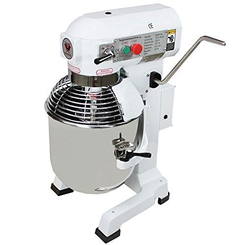 Beeketal 'BSM30a' Profi Teigknetmaschine mit Planetenrührwerk 30 Liter Kapazität (3 Stufen 125, 205, 485 U/min), Knetmaschine inkl. Knethaken, Schneebesen und Flachrührer - weiß lackiert