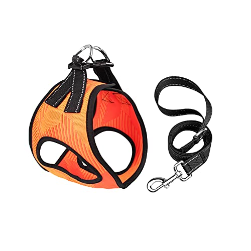 YMINA Step in Dog Harness No Pull No Choke Dog Harness and Leash Set Reflective Air Mesh Dog Vest Harness for Extra Small Medium Size Dog Adjustable Padded Dog Vest with Easy Control Handle, Orange S