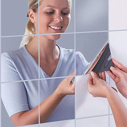 Set di 16 adesivi per specchietti da parete, in plastica autoadesivi, quadrati e flessibili, per specchi di vetro, per fai da te, decorazione della casa, decorazione della stanza (15 x 15 cm)