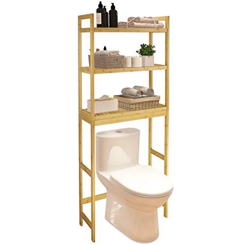 SMIBUY Estante de Almacenamiento para baño, Organizador de bambú sobre el Inodoro, Ahorro de Espacio para Inodoro Independiente con estantes Ajustables de 3 Niveles (Natural)